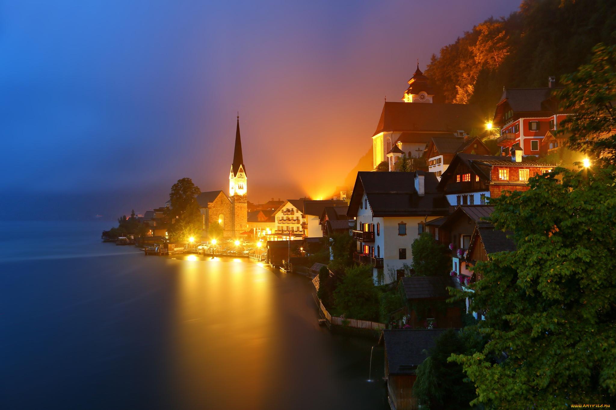 Обои австрия, дома, альпы, гальштат, hallstatt, austria. Города foto 19
